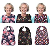 3 Pack Adult Bib for Eating Washable Reusable Waterproof Clothing Protector with Optional Crumb Catcher 29.5' x 19.3' Women (3 Pack)