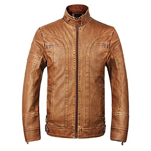 WULFUL Men's Vintage Stand Collar Leather Jacket Motorcycle PU Jacket Outerwear with Fleece Lined