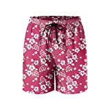 Elxie06 Seamless Hibiscus Mens Quick Dry Breathable Beach Shorts with Drawstring