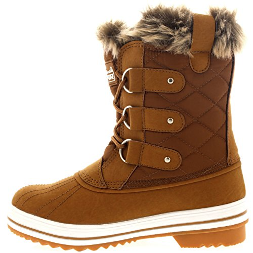Waterproof Snow Products Polar Winter Quilted Womens Rain Boots Short Boot Warm Snow Tan vFFRBx