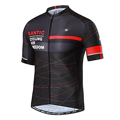 Santic Cycling Jersey Men Breathable Bicycle Shirt Full Zip Bike Short Sleeve Shirts with Pockets