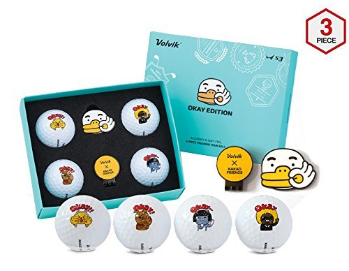Volvik Kakao Friends Golf Ball S3 OK Edition (4 Balls + Ball Marker) + SuperDaddy Highlighter (Gift) by Volvik Kakao Friends