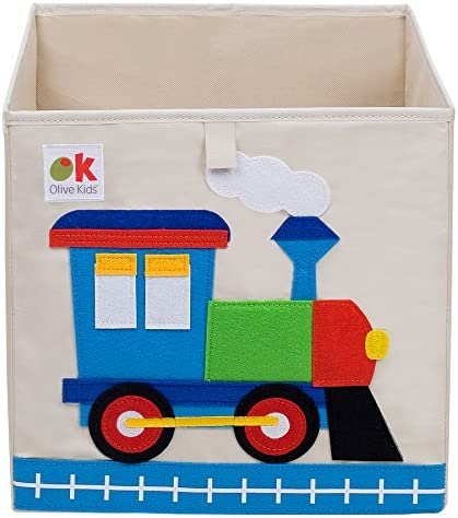 Wildkin Kids 13 Inch Storage Cube for Boys and Girls Perfect Use in Your Child`s Bedroom or Playroom Storage Cubes Helps Keep Toys Games Books and Art Supplies Organized Olive Kids (Train)