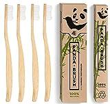 Bamboo Wooden Toothbrush - The Panda Brush - Luxury Patented Handle - Biodegradable and Renewable Wood ToothBrushes - BPA-Free Medium Nylon Bristles - Natural Dental Care (4 pack Adult Size)