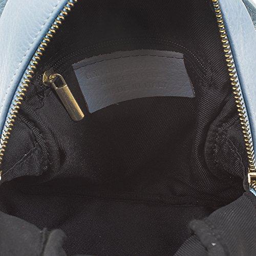 FIRENZE ARTEGIANI.Mochila de mujer casual piel auténtica.Bolso mochila cuero genuino.Adornos vintage color.Asa y bolsillo delantero. MADE IN ITALY. VERA PELLE ITALIANA. 15x22x13 cm. Color: TURQUESA