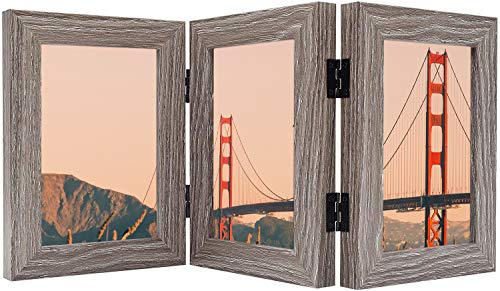 Frametory, Hinged Picture Frame with Glass Front Made to Display Three Pictures, Stands Vertically on Desktop or Table Top (Grey, 4x6 Triple)