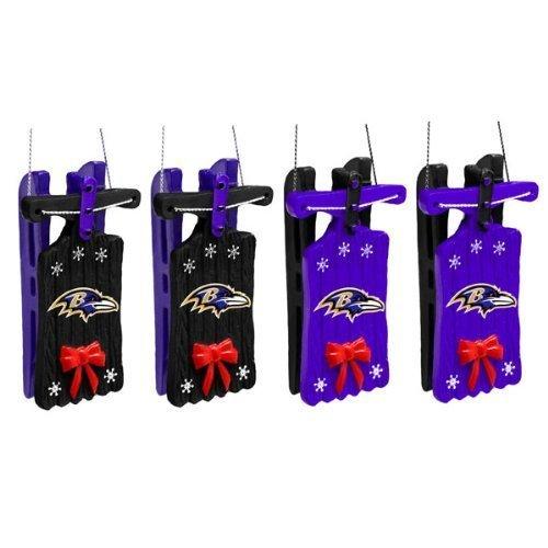 Baltimore Ravens Sleigh Ornament 4 pack
