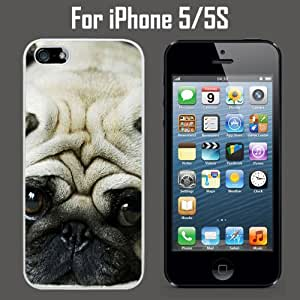 Cute Little Pug Custom Case/ Cover/Skin *NEW* Case for Apple iPhone 5/5S - White - Rubber Case (Ships from CA) Custom Protective Case , Design Case-ATT Verizon T-mobile Sprint ,Friendly Packaging - Slim Case