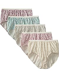 Just My Size Women's 5-Pack Cotton Lace Effects Brief Panty