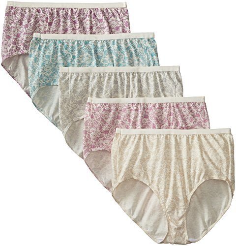 Just My Size Women's 5-Pack Cotton Lace Effects Brief Panty, Assorted, 14