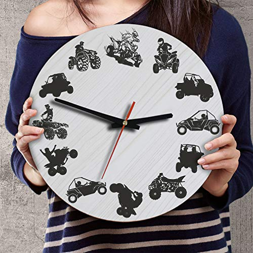 (VTH Global 12 Inch Silent Battery Operated ATV UTV Wood Wall Clocks Gifts for Riders Lovers Off Road Racers)