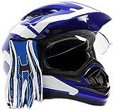 Dual Sport Helmet Combo w/Gloves - Off Road Motocross UTV ATV Motorcycle Enduro - Blue - Small