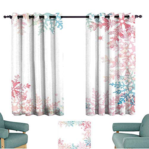 Mannwarehouse Winter Soft Curtain Abstract Winter Inspired Multicolored Snowflake Design Soft Color Palette Image 70%-80% Light Shading, 2 Panels,63