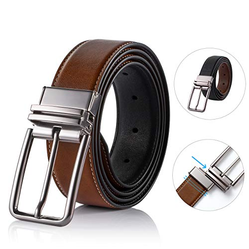 Reversible Belts for Men SOPONDER 32 Inch Adjustable Big and Tall Mens Genuine Leather Belts for Jeans Khakis Formal Dress Suit Work Pants