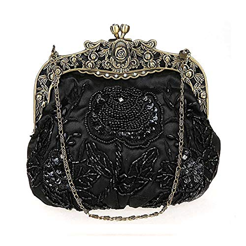 Woman Champagne Ladies Dinner Dress Bol colore Nero Wedding Beaded Bag Bridal Party Evening Vintage SS7Xaw