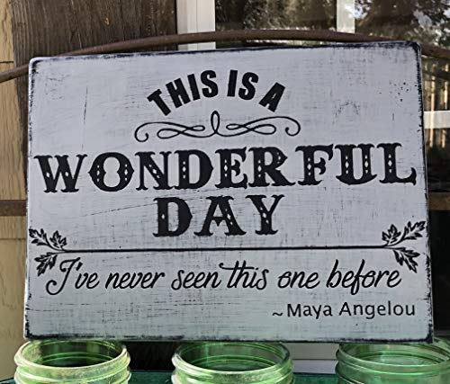 This is a WONDERFUL Day Maya Angelou Quote Hand Painted Sign