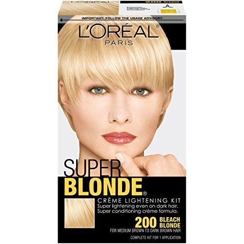 L'Oréal Paris Super Blonde Créme Lightening Kit, 200 Bleach Blonde (Best Box Dye To Lighten Dark Hair)