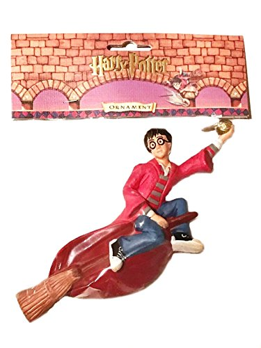 Harry Potter on Broomstick with Golden Snitch Ornament (Harry Potter Toy Broom)