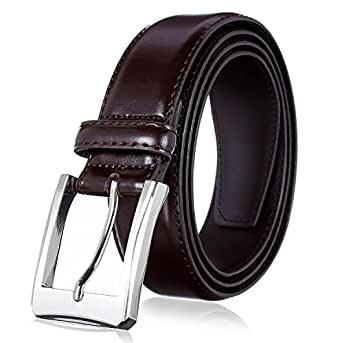 Men's Genuine Leather Dress Belt with Premium Quality - Classic & Fashion Design for Work Business and Casual (Brown, 30)