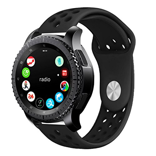 Gear S3 Bands, KADES 22mm Universal Replacement Strap with Quick Release Pin Compatible for Samsung Galaxy Watch 46mm/ TicWatch Pro/Amazfit Stratos Smart Watch - Black/Black