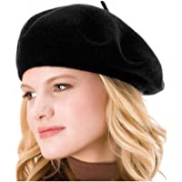 8f2c02ad6dec2 HengwoYS Womens Solid Color Beret 100% Wool French Beanie Cap Hat