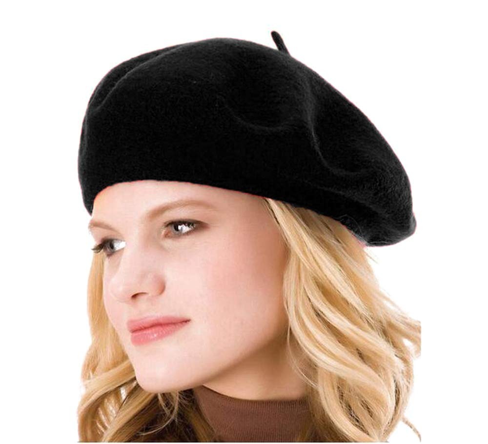 HengwoYS Womens Solid Color Beret 100% Wool French Beanie Cap Hat (3pcs Black Berets)