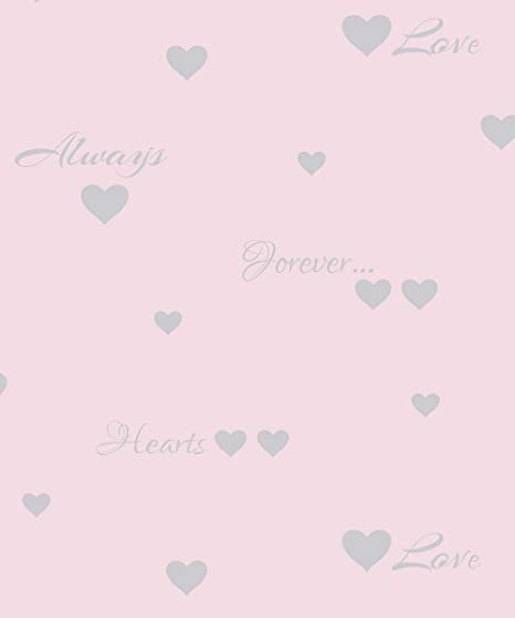 Fine Decor Love Hearts Wallpaper Fd40740 Typography Words Quotes