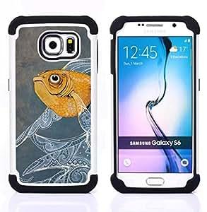"""Pulsar ( Pintura de los pescados Diseño floral Acuarela"""" ) Samsung Galaxy S6 / SM-G920 SM-G920 híbrida Heavy Duty Impact pesado deber de protección a los choques caso Carcasa de parachoques [Ne"""