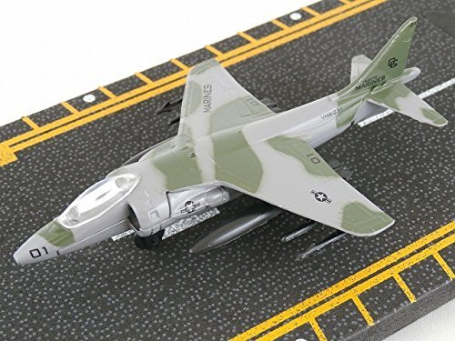 Hot Wings Av-2B Harrier (Markings) with Connectible Runway Die Cast Plane Model Airplane, Grey ()