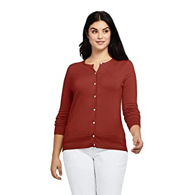 85614a741a1 Lands  End Women s Plus Size Supima Cotton Cardigan Sweater at ...