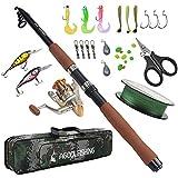 AGOOL Fishing Rod and Reel Combo Full Kit, Fishing Bait Spinning Fishing Gear