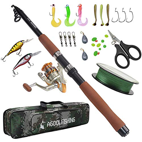 AGOOL Fishing Rod and Reel Combo Full Kit, Fishing Pole Sets Spinning Fishing Gear Hard Lure Fishing Line Pole Organizer Fiber Glass with Soft Lures Sinker Weight Circle Hooks Fishing Accessories