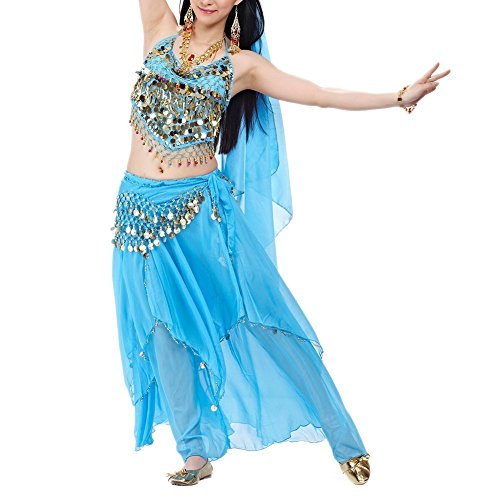 [BellyLady Professional Belly Dance Costume, Halter Bra Top, Hip Scarf and Skirt LAKEBLUE] (Belly Dance Costumes Bra)