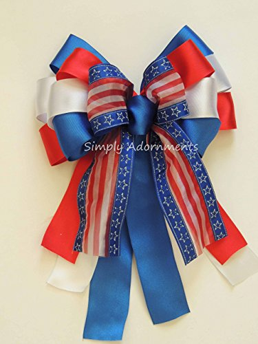 Red White Blue Gift Bow Patriotic Decor Gifts Bow Fourth of July Wreath Bow Independence Day Bow President Day door hanger Bow Veterans Day Military Bow