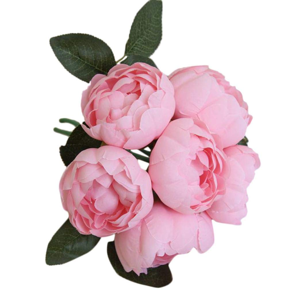 Artificial Flowers, MaxFox 6 Heads Peony Silk Fake Bouquet Leaf Flower Bouquets Home Office Wedding Party Decor (Hot Pink)