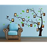 ufengke® Large Creative Picture Photo Frame Tree Wall Decals, Living Room Bedroom Removable Wall Stickers Murals, Facing Left, Black