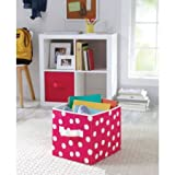 Better Homes and Gardens Collapsible Fabric Storage Cube | 100% Polyester (2, Fuchsia Dot)