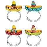 Cinco De Mayo Fiesta Party Colorful Sombrero Headbands, 8 Pieces, Made from Plastic, Graduation/Commencement/Team Spirit,  8