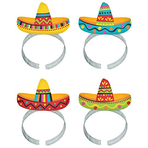 Amscan Cinco De Mayo Fiesta Party Colorful Sombrero Headbands, 8 Pieces, Made from Plastic, Graduation/Commencement/Team Spirit,  8