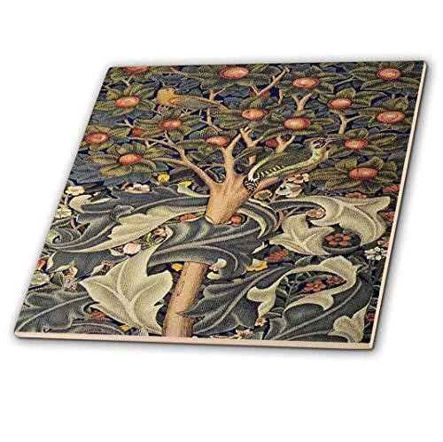 (3D Rose Image of William Morris Woodpecker in Gray Orange and Ivory Ceramic Tile, Multicolor )