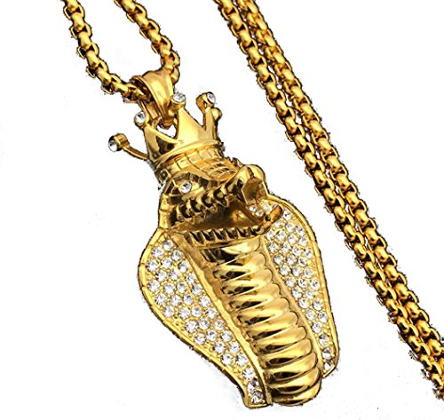 Cobra Gold Chain (MCSAYS Stainless SteelHip Hop Necklace Gold Silver Crown Cobra Pendant Box Chain)