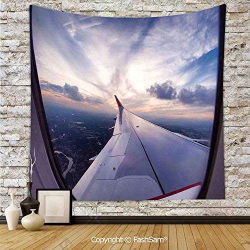 FashSam Polyester Tapestry Wall Airplane Travel Time is Sunset Business Distant Evening Float Holiday Horizon Journey Window Decorative Hanging Printed Home Decor(W39xL59)]()