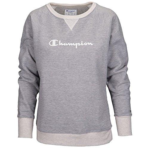Champion Women's Fleece Boyfriend Crew, Oxford Grey Heather/Oatmeal Heather/Champion Script, XXL