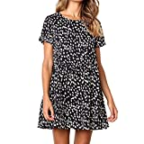 Floral Dress Shirts for Men, Formal Dresses for Women Knee Length,Women Summer Dot Print Short Sleeve Loose Ruffles Casual Short Mini Dress Black