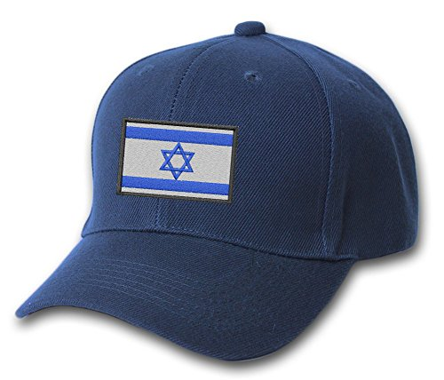 (Israel Country Flag Embroidered Hat 4 Colors - Navy - OSFA Adjustable)