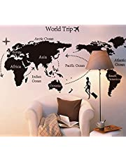 """""""Travel Round The World"""" World Map Wall Decals, Living Room Bedroom Removable Wall Stickers Murals, B , 2724648874400"""