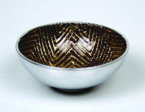 Jodhpuri Chevron Decorative Bowl, Brown & Gold by Jodhpuri (Image #1)