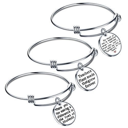 lauhonmin Teacher Appreciation Gifts Expendable Inspirational Bangle Bracelet Set Stainless Steel 3PCS (Best End Of Year Teacher Gift Ideas)