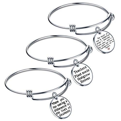 lauhonmin Teacher Appreciation Gifts Expendable Inspirational Bangle Bracelet Set Stainless Steel 3PCS