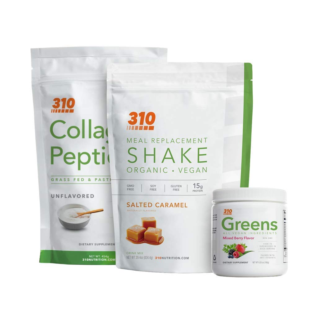 Lifestyle Bundle by 310 Nutrition - Includes Keto Friendly Vegan Organic Salted Caramel Meal Replacement Shake (28 Servings), Collagen Peptides (1 Pound) and Greens Superfood Powder (30 Servings)